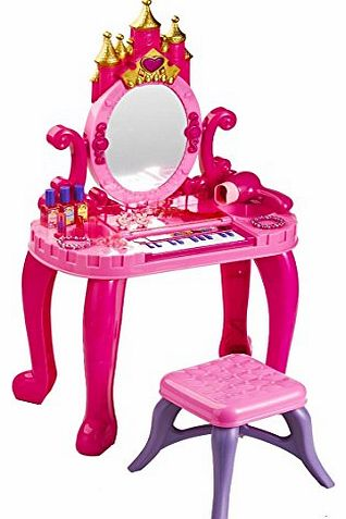 2 IN 1 KIDS / CHILDRENS PIANO & VANITY CASTLE DRESSING TABLE AND STOOL TOCADOR 13 KEY SOUND & LIGHT STOOL GIRLS PLAY SET WITH TOY HAIR ACCESSORIES AND REAL BLOWING ACTION HAIRDRYER