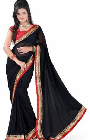 Fabdeal Indian Bollywood Designer Chiffon Georgette Black Plain With Lace Border Saree Sari Sarees