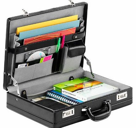 Falcon Leather Attaché Case FI2006L Black,Fully expandable base section,Luxurious suede lining, Carry handle with Combination locks