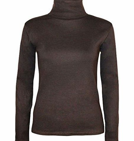 FASHION FAIRIES LTD NEW LADIES LONG SLEEVE TURTLE POLO NECK TOP WOMENS TOP JUMPER 8-26 [DARK BROWN,UK 12-14]