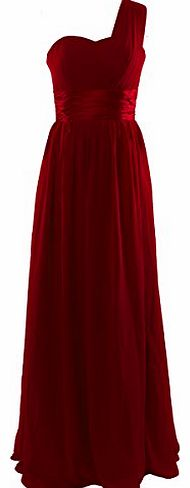 One-shoulder Chiffon Empire-line Bridesmaid Formal Evening Prom Party Dress D0126 (UK6, Wine Red)