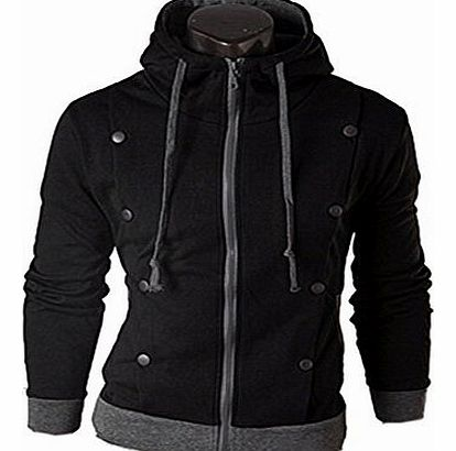 Men Slim Hoodie Sweatshirt(52,black)