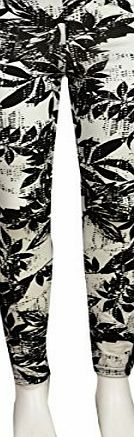 New Girls Kids Tween Black and White Legging Range Age 7-13 Years (11-12, Floral)