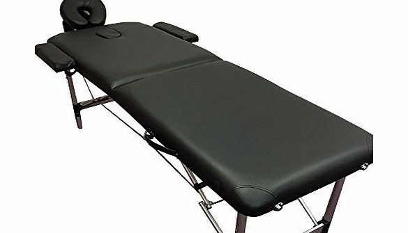 Black Super Lightweight Aluminium Portable Massage Table Couch Bed 10kg - TM03 - Rounded Table Corners + FREE Accessories & FREE Carry Bag - 2 SECTION