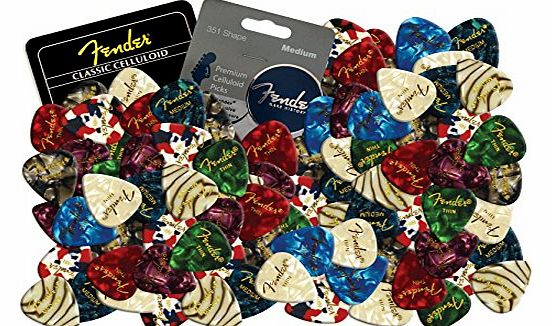 Celluloid Guitar Picks Plectrums 12 X Random Mixed Pearl Colours (Medium)
