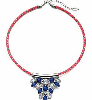 Blue Crystal Neon Woven Necklace