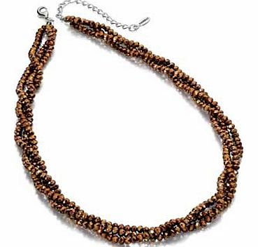 Bronze Faceted Bead Twist Necklace