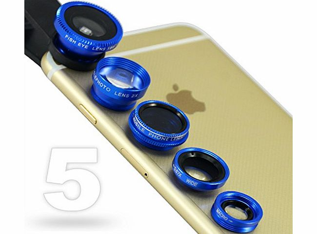 JTSJ-5N1-03 blue mobile phone Universal 5 in 1 Clip Camera professional glass Lens Kit (fish eye, wide angle, macro, barlow and polarizer lens) for Samsung Galaxy Fame GT S6810P Galaxy Meg