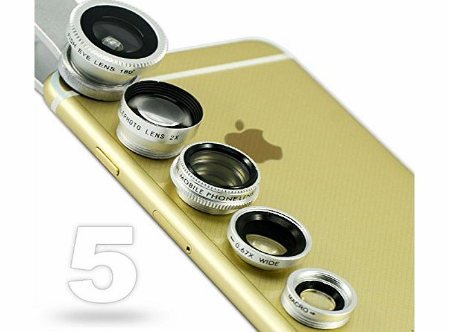 JTSJ-5N1-16 silver mobile phone Universal 5 in 1 Clip Camera professional glass Lens Kit (fish eye, wide angle, macro, barlow and polarizer lens) for Apple iPhone 6 amp; Samsung galaxy No