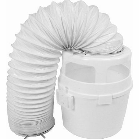 4ft Vent Hose Condenser Bucket Wall Mount Kit for Indesit Tumble Dryers (White)