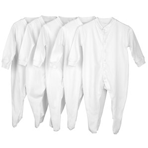 five Sleepsuits, White, 0-3 Months