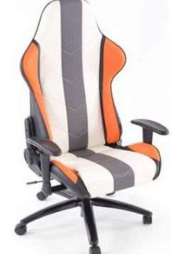 Denver FKRSE12035 Sports Seat Office Chair with Arm Rests Artificial Leather Orange / White / Grey