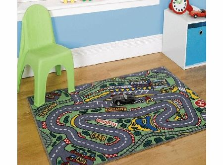 Childrens Formula One Playmat Roadmap Toy Cars Hot Wheels Bedroon Play Room Racing Track 80 x 120 Cm Rug