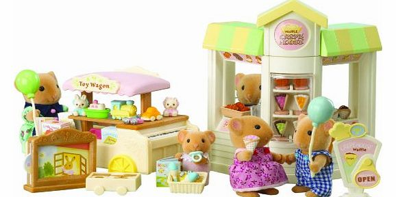 Sylvanian Families Pancake Shop and Toy Stall Street Market (Figures Not Included)