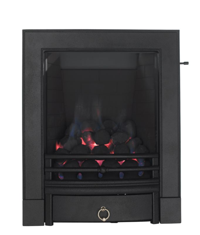 Focal Point Soho Full Depth Gas Inset Fire Black with Finger Slide Control