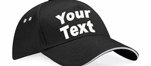 PERSONALISED 2 TONE BASEBALL FASHION CAP ( UNISEX - Black / Light Grey ) NEW PREMIUM CUSTOM HAT - Your Text logo design workwear designer Mens Womens Ladies Two Beechfield Sports Adult Work Classic Co