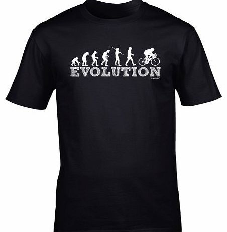 EVOLUTION BICYCLE RACER (L - BLACK) NEW PREMIUM LOOSE FIT BAGGY T SHIRT - Cycle Mountain Bike Safety Accessories Lights Helmet Shorts Gloves Pedal Slogan Funny Joke Novelty Vintage retro top Mens Ladi