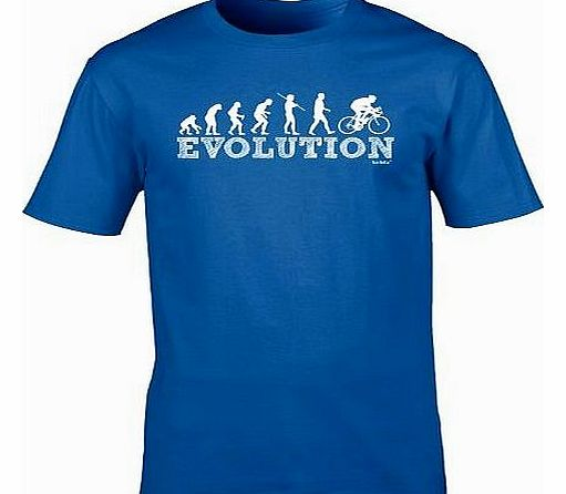 EVOLUTION BICYCLE RACER (L - ROYAL BLUE) NEW PREMIUM LOOSE FIT BAGGY T SHIRT - Cycle Mountain Bike Safety Accessories Lights Helmet Shorts Gloves Pedal Slogan Funny Joke Novelty Vintage retro top Mens