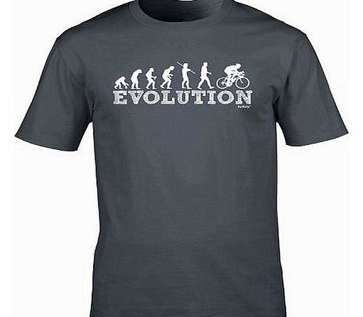 EVOLUTION BICYCLE RACER (XL - CHARCOAL) NEW PREMIUM LOOSE FIT BAGGY T SHIRT - Cycle Mountain Bike Safety Accessories Lights Helmet Shorts Gloves Pedal Slogan Funny Joke Novelty Vintage retro top Mens