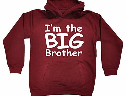 KIDS - IM THE BIG BROTHER HOODIE (L-Age-9-11 - BURGUNDY) NEW PREMIUM - cool cute baby toddler Slogan Funny Novelty Nerd Vintage retro top clothes Unisex Children Child Girl Boy Sweatshirt Hoody Hoodie