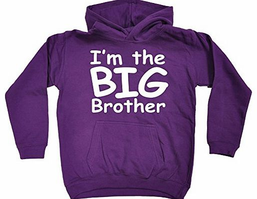 KIDS - IM THE BIG BROTHER HOODIE (XS-Age-3-4 - PURPLE) NEW PREMIUM - cool cute baby toddler Slogan Funny Novelty Nerd Vintage retro top clothes Unisex Children Child Girl Boy Sweatshirt Hoody Hoodies