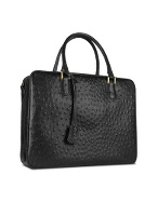 Black Ostrich Stamped Leather Briefcase