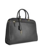Ladiesand#39; Black Lizard Stamped Leather Briefcase