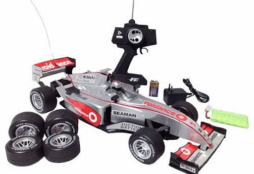 HUGE 1:10 F1 Radio Remote Control Formula One Car - CAN RACE 2 CARS (SILVER 27MHZ)