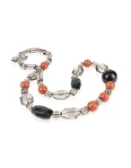 Dream Magnets - Black and Orange Faceted Bead Necklace