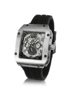 Rhino - Men` Black Rubber Strap Automatic Date Watch