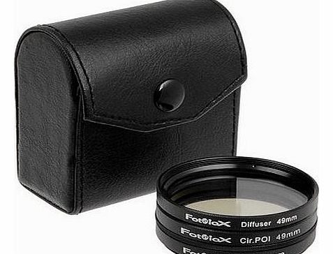 Filter Kit, UV, Circular Polarizer, Soft Diffuser, 49mm For Canon, Nikon, Sony, Olympus, Pentax, Panasonic Camera Lenses.