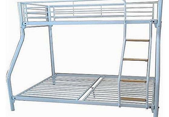 New White Metal Triple Children Kids Sleeper Bunk Bed Frame No Mattress Double Bed Base Single On Top With Wood Ladder