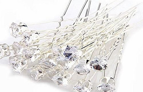 Foxnovo 20pcs Delicate Womens Girls Wedding Bridal Bling Crystal Rhinestone U-Shaped Metal Hairpins Hair Clips (White)
