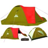 4 Man Double Skinned Tent Sand Yellow/Red