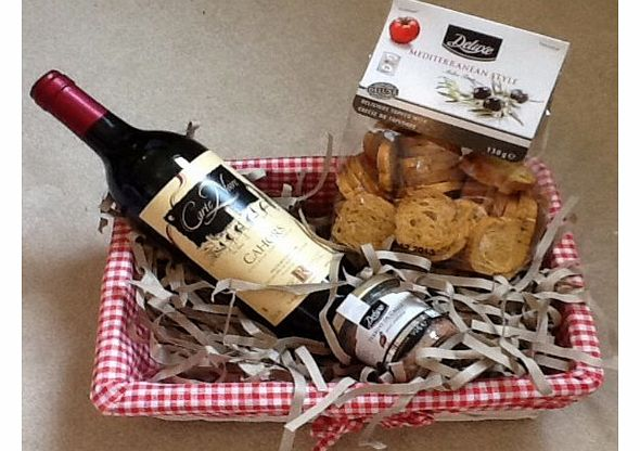 French red wine, Mediterranean Melba toasts & deluxe pate Hamper