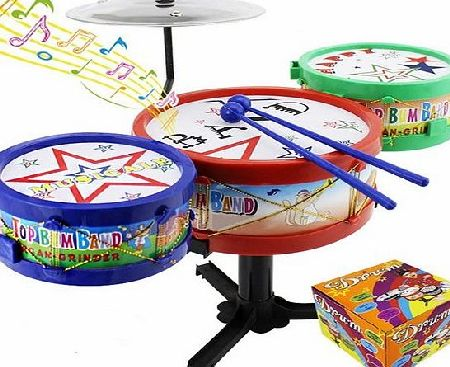 Fun Toys Mini Child Colorful Rock Roll Jazz Drum Set Music Instruction Percussion Toy