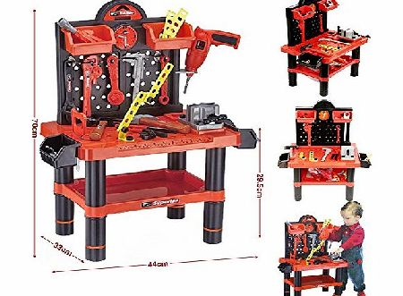 Childrens 54pc Tool Bench Playset Workshop Tools Kit Kids Toy Battery Operated Electronic Drill