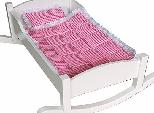 Unique Handmade White Wooden Dolls Bed that also can be turned in to a cradle SALE! SALE! SALE!