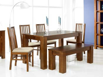 Calla Acacia Bench Dining Set with Slatted Chairs
