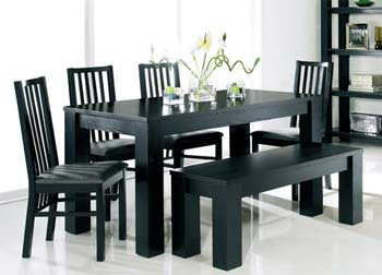 Calla Black Bench Dining Set with Slatted Chairs