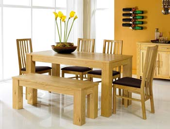 Calla Oak Bench Dining Set with Slatted Chairs