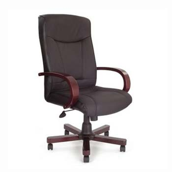 Furniture123 Clemson Black Leather Deluxe Office Chair in