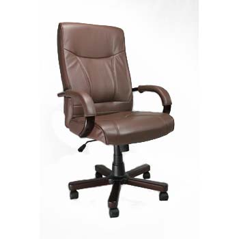 Furniture123 Clemson Brown Leather Deluxe Office Chair in