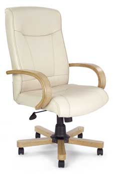 Furniture123 Clemson Cream Leather Deluxe Office Chair in Oak