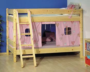 Beds furniture123 mickey natural 20 bunk bed with pink tent for Furniture 123 bunk beds