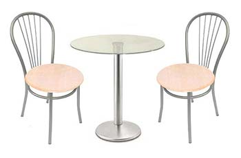 Milan Satin and Glass Dining Set with 4 Beech