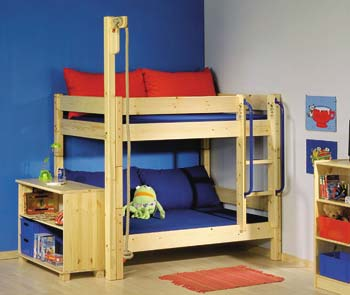 Furniture123 Morty Natural 5 - Bunk Bed with Rope Swing -