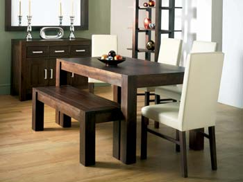 Nyon Walnut Bench Dining Set with Ivory Chairs
