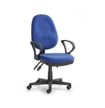 System Blue Fabric Office Chair with Arms
