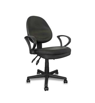 Furniture123 Turbo Black Leather Operators Office Chair with